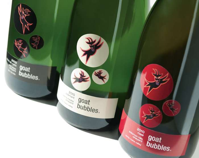 Wine Label Design Flying Goats And Floating Bubbles Mark Oliver